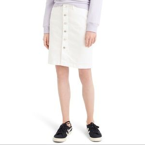 J Crew Button-Front Stretch Denim Pencil Skirt